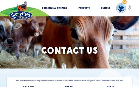 Screenshot of Contact Page stonyfield.com - Contact Us | Stonyfield - captured March 17, 2018