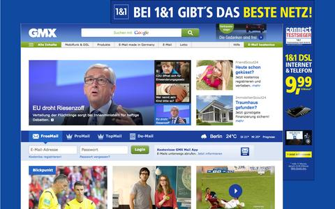Screenshot of Home Page gmx.net - GMX: Email-Adresse, FreeMail, De-Mail & Nachrichten - captured Sept. 13, 2015