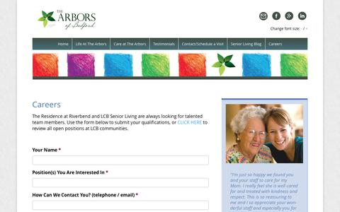 Screenshot of Jobs Page arborsofbedford.com - Memory Care Assisted Living Jobs in Bedford NH - captured Dec. 10, 2016