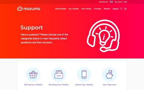 Screenshot of Support Page mazumamobile.com - Phone Recycling Customer Support & FAQs | Mazuma Mobile - captured Sept. 20, 2018