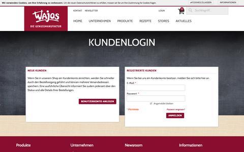 Screenshot of Login Page wajos.de - Wajos Kundenlogin Wajos - captured Nov. 15, 2018