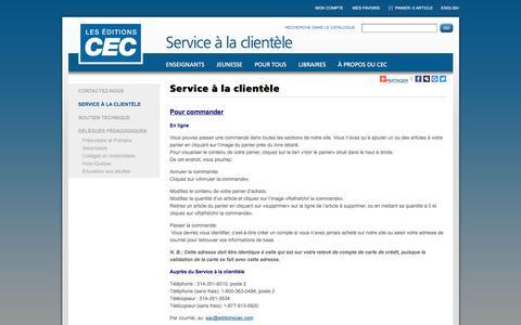 Screenshot of Support Page editionscec.com - CEC - captured Oct. 4, 2016
