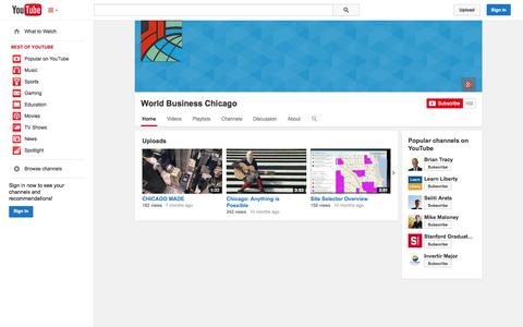 Screenshot of YouTube Page youtube.com - World Business Chicago  - YouTube - captured Oct. 25, 2014