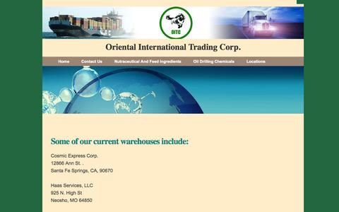 Screenshot of Locations Page orientint.com - Oriental International Trading Corp. - Warehouse Locations - captured Oct. 7, 2014