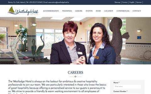 Screenshot of Jobs Page westlodgehotel.ie - Careers | Westlodge Hotel - captured Nov. 29, 2016
