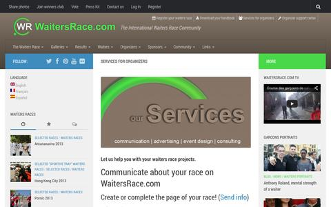 Screenshot of Services Page waitersrace.com - Services for organizers - WaitersRace.com - captured Oct. 27, 2014