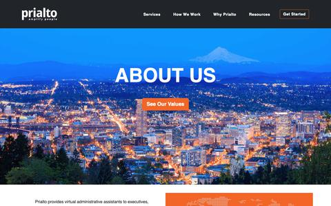 Screenshot of About Page prialto.com - About Us - captured Jan. 27, 2019