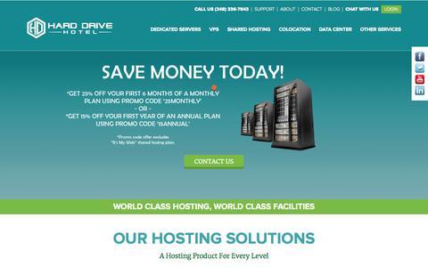 Screenshot of Home Page harddrivehotel.com - Hard Drive Hotel Web Hosting Solutions - captured July 19, 2015