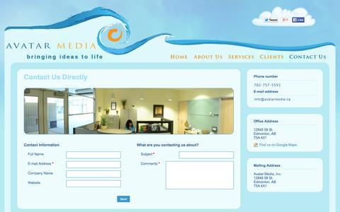 Screenshot of Contact Page avatarmedia.ca - Avatar Media- Contact Us - captured Oct. 4, 2014