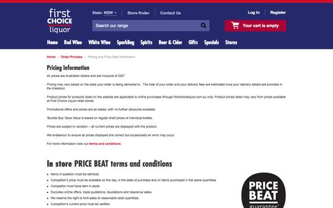 Screenshot of Pricing Page 1stchoice.com.au - Pricing Information | First Choice Liquor - captured Sept. 18, 2014