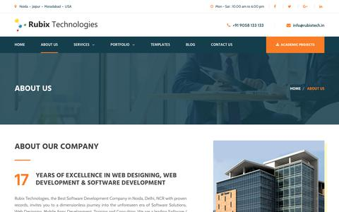 Screenshot of About Page rubixtech.in - About Us - Web Designing Company in Noida, Delhi NCR - captured Nov. 2, 2017