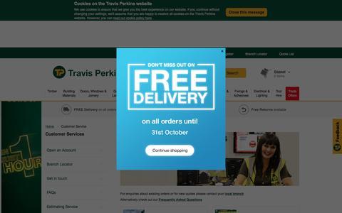 Screenshot of Support Page travisperkins.co.uk - Customer Service | Travis Perkins - captured Oct. 27, 2017