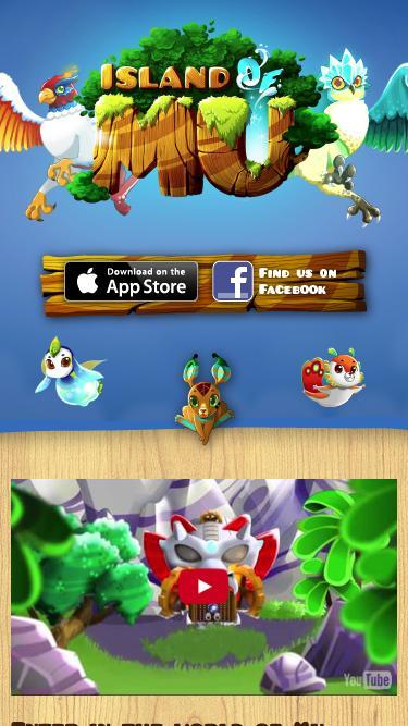 Screenshot of Home Page  islandofmu.com - Island of Mu, play for free on iOS and Facebook