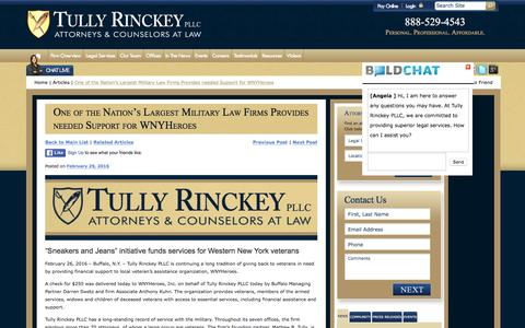 Screenshot of tullylegal.com - One of the Nation's Largest Military Law Firms Provides needed Support for WNYHeroes | Tully Rinckey PLLC - captured March 20, 2016