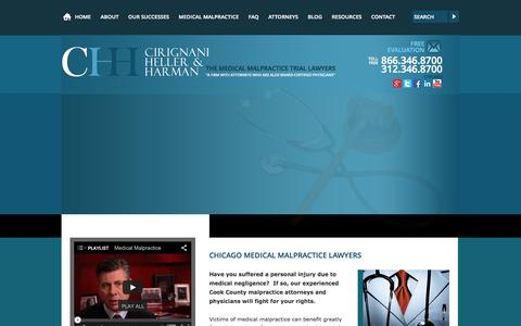 Screenshot of Home Page cirignani.com - Chicago Medical Malpractice Attorney | Cook County Illinois Medical Injury Lawyer | Cirignani Heller & Harman, LLP - captured Jan. 23, 2015