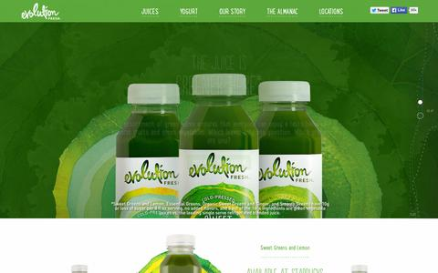 Screenshot of Home Page evolutionfresh.com - Evolution Fresh | Cold-Pressed Juice & Smoothies - captured Nov. 6, 2015