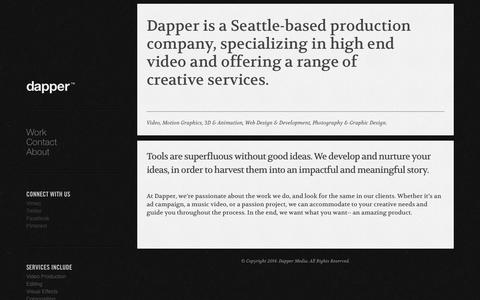 Screenshot of About Page dappermedia.net - About - captured Oct. 5, 2014