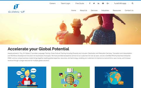 Screenshot of Home Page global-lt.com - Global LT Corporate Language Cultural Expatriate Services - captured May 19, 2017