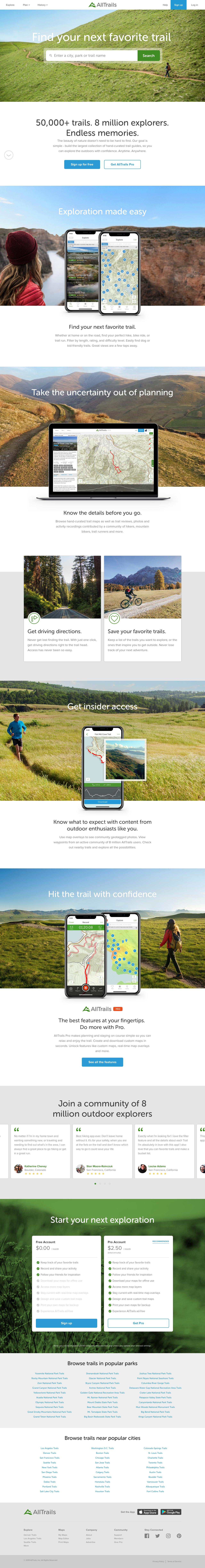 Screenshot of alltrails.com - Outdoor Guides | Hiking, Camping, Trail Running, Dog Friendly Trails | AllTrails - captured June 13, 2018