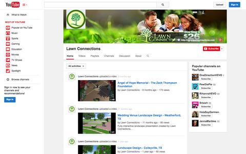 Screenshot of YouTube Page youtube.com - Lawn Connections  - YouTube - captured Oct. 22, 2014