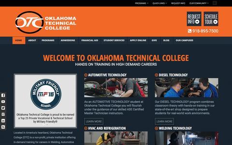 Screenshot of Home Page oklahomatechnicalcollege.com - Home - Oklahoma Technical College in Tulsa, OK 918-895-7500 - captured Jan. 12, 2016