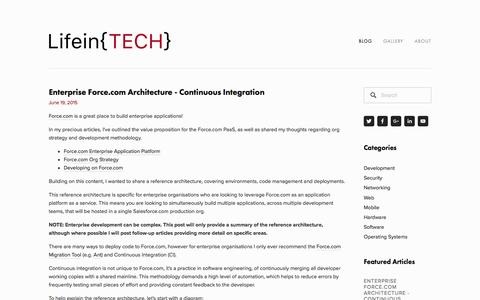 Screenshot of lifeintech.com - Enterprise Force.com Architecture - Continuous Integration — LifeinTECH - captured May 15, 2016