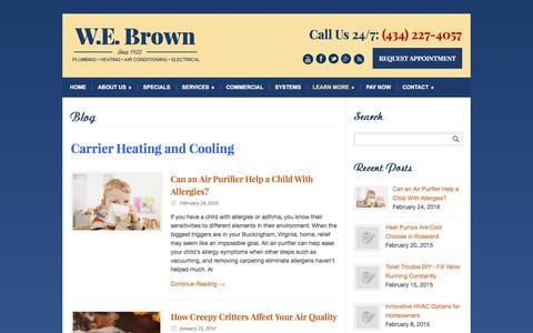 Screenshot of Blog webrown.com - Carrier Heating and Cooling Charlottesville VA - captured Feb. 26, 2016
