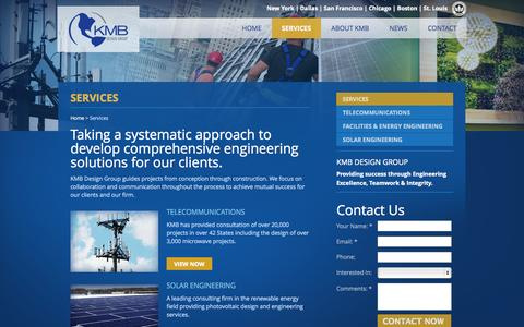 Screenshot of Services Page kmbdg.com - Check out the engineering services at KMB Design Group : KMB Design Group - captured Oct. 8, 2014