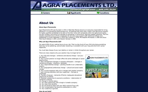 Screenshot of About Page agraplacements.com - Job Postings with Agra Placements - captured Oct. 4, 2014
