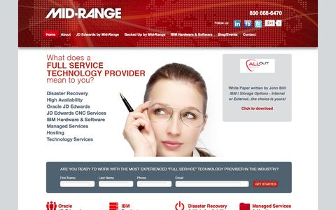 Screenshot of Home Page midrange.ca - Mid-Range | IBM Servers, Disaster Recovery, Outsourcing and JD Edwards, across Canada and beyond - captured Oct. 6, 2014