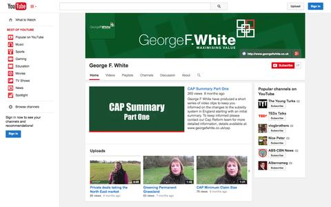 Screenshot of YouTube Page youtube.com - George F. White  - YouTube - captured Oct. 22, 2014