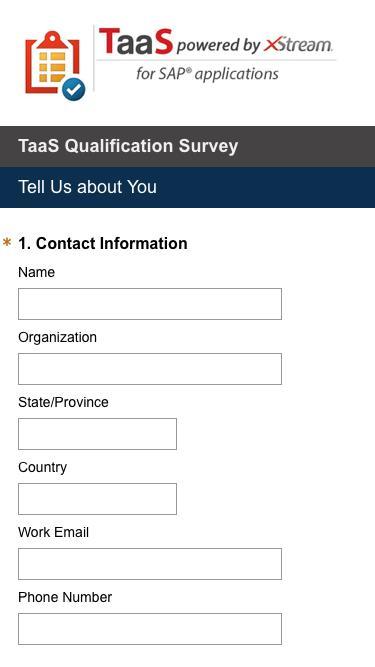 TaaS Qualification Survey