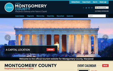 Screenshot of Home Page visitmontgomery.com - Montgomery County, Maryland Official Tourism Website - captured Sept. 19, 2015