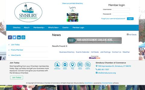 Screenshot of Press Page simsburycoc.org - News - Simsbury Chamber of Commerce, CT - captured Oct. 2, 2018