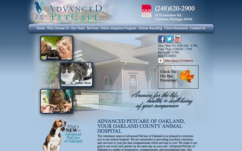Screenshot of Home Page advanced-petcare.com - Advanced PetCare of Oakland | Oakland Animal Hospital - captured Feb. 5, 2016