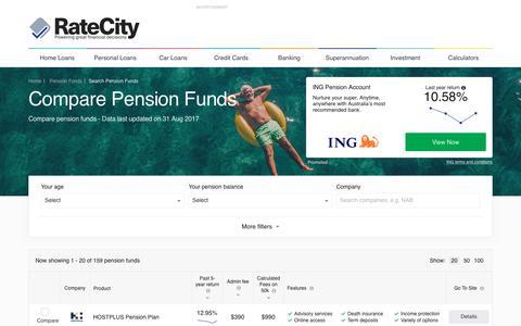 Compare 159+ Pension Funds Deals | RateCity.com.au