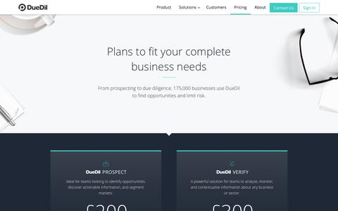 Screenshot of Pricing Page duedil.com - Plans  | DueDil - captured Sept. 27, 2016