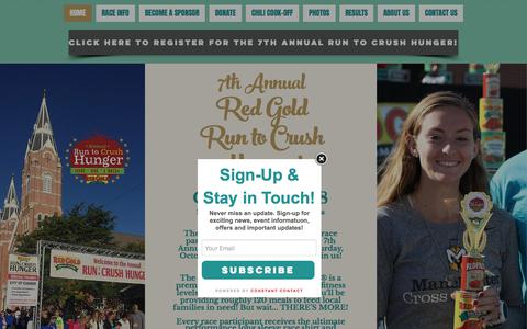 Screenshot of Home Page redgold5krun.com - Red Gold Crush Hunger Saturday Elwood, Indiana - captured March 6, 2018