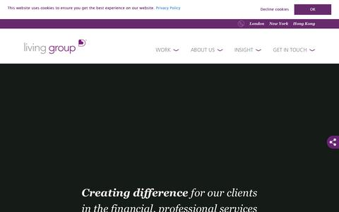 Screenshot of Home Page living-group.com - Home > Living Group - captured July 21, 2018