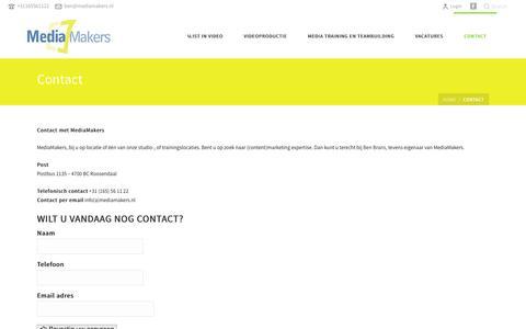 Screenshot of Contact Page mediamakers.nl - Contact met MediaMakers - captured Jan. 9, 2016
