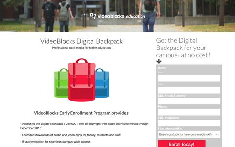 Screenshot of Landing Page videoblocks.com - VideoBlocks Digital Backpack for EDU - VideoBlocks - Education - captured Dec. 21, 2015