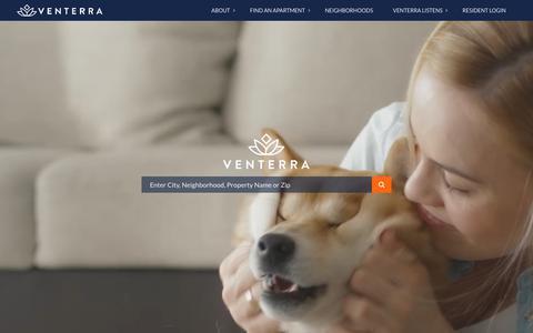 Screenshot of Home Page venterraliving.com - Venterra Living - captured Oct. 3, 2018