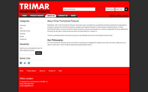 Screenshot of About Page trimar.ca - About Us - Trimar Promotional Products - captured Dec. 20, 2016