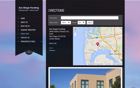 Screenshot of Maps & Directions Page sdfunding.com - Directions | San Diego Funding - captured Oct. 3, 2014