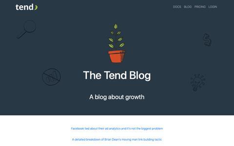 Screenshot of Blog tend.io - Tend    A blog about growth - captured Feb. 13, 2019