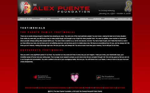 Screenshot of Testimonials Page apmsf.com - The Alex Puente Foundation - Testimonials - captured Oct. 7, 2014