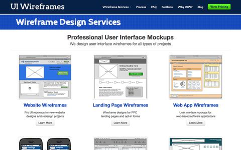 Screenshot of Services Page uiwireframes.com - User Interface Design Services | UI Wireframes - captured Sept. 30, 2014