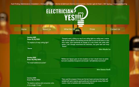 Screenshot of Testimonials Page electricianinbristol.co.uk - Feedback @ Electrician in Bristol The Project - captured Sept. 27, 2015