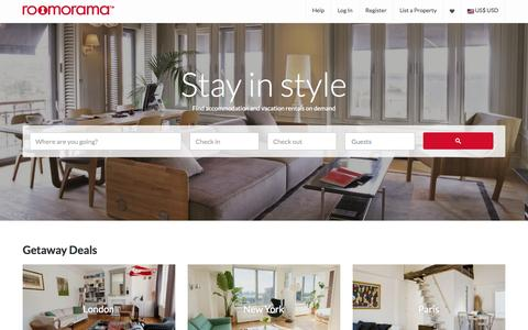 Screenshot of Home Page roomorama.com - Roomorama - Short Term Rentals, Nightly and Weekly Apartments, Homes and Rooms - captured Jan. 14, 2015