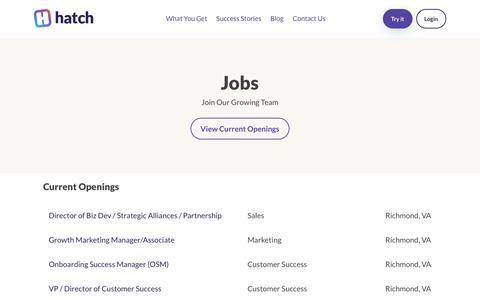 Screenshot of Jobs Page usehatchapp.com - Hatch - captured Aug. 21, 2019